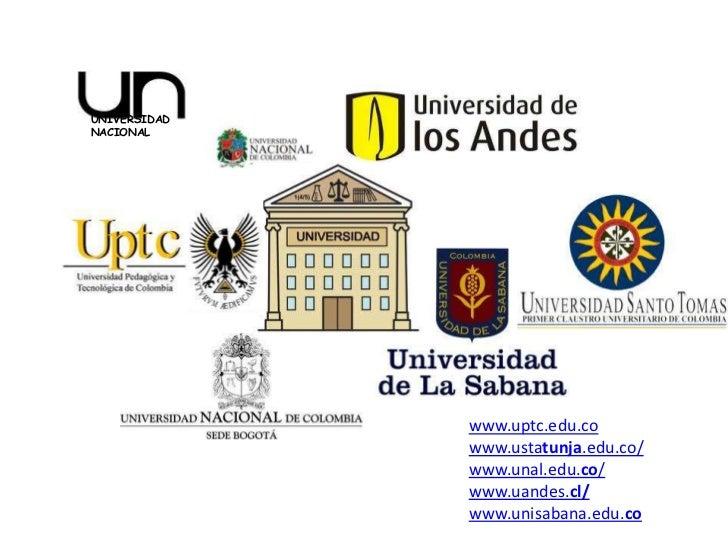 UNIVERSIDADNACIONAL              www.uptc.edu.co              www.ustatunja.edu.co/              www.unal.edu.co/         ...