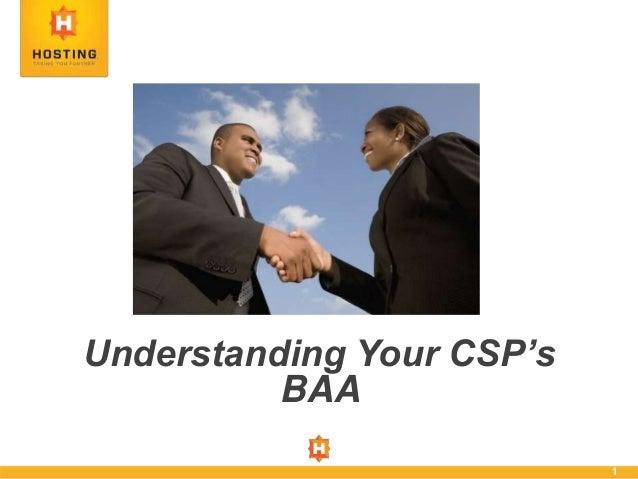 1 Understanding Your CSP's BAA