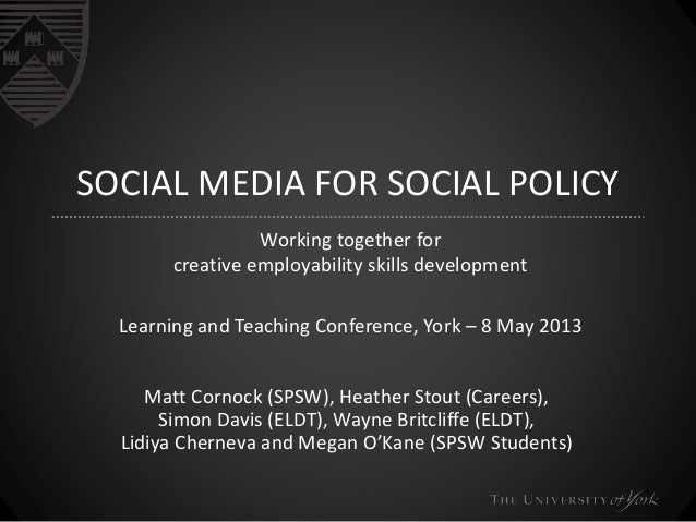 SOCIAL MEDIA FOR SOCIAL POLICY Working together for creative employability skills development Learning and Teaching Confer...