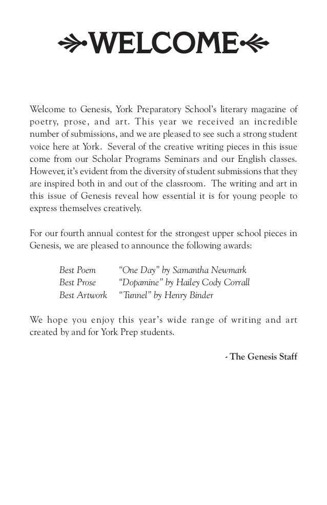 Welcome to Genesis, York Prep School's literary magazine of poetry, p…