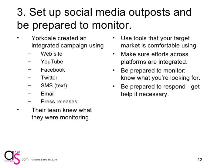 4. Set up social media outposts and be prepared to monitor. <ul><li>Yorkdale created an integrated campaign using </li></u...