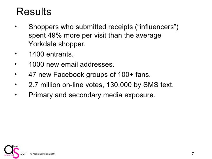 """Results <ul><li>Shoppers who submitted receipts (""""influencers"""") spent 49% more per visit than the average Yorkdale shopper..."""