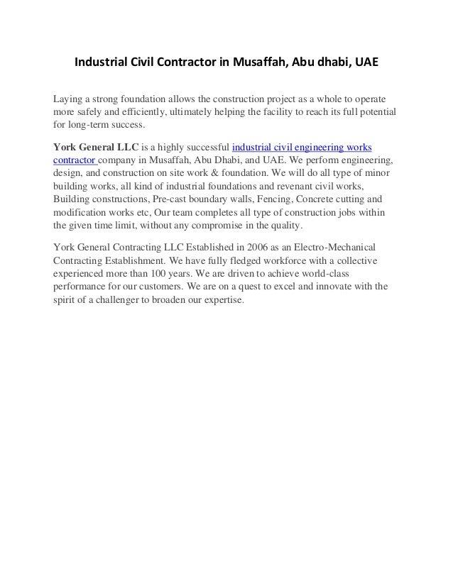 York uae is a civil contractor performing engineering
