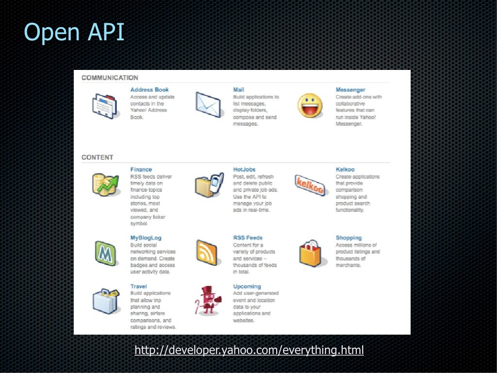Open API http://developer yahoo com/everything html