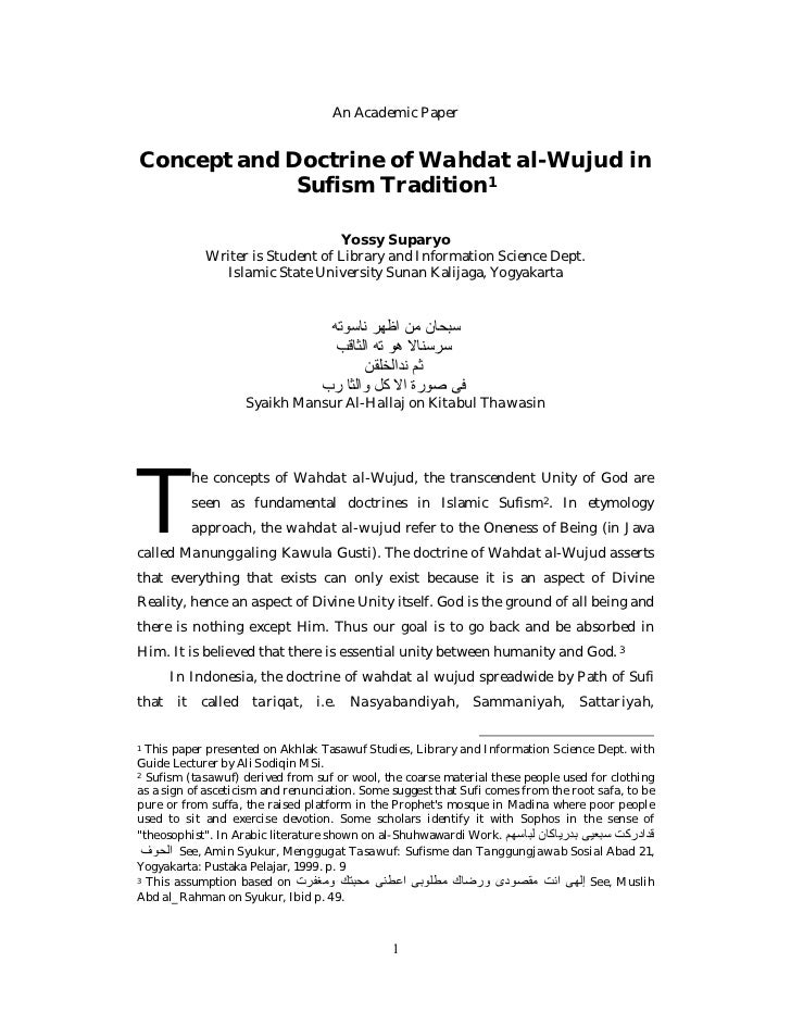 An Academic PaperConcept and Doctrine of Wahdat al-Wujud in             Sufism Tradition1                                 ...
