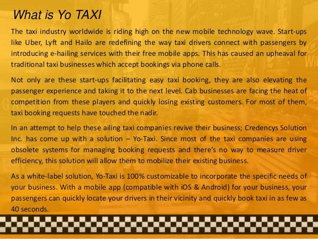 One App for Your Taxi, Cab Business By YO TAXI