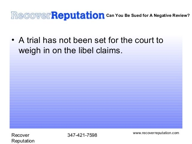 Sued for posting negative online business review?