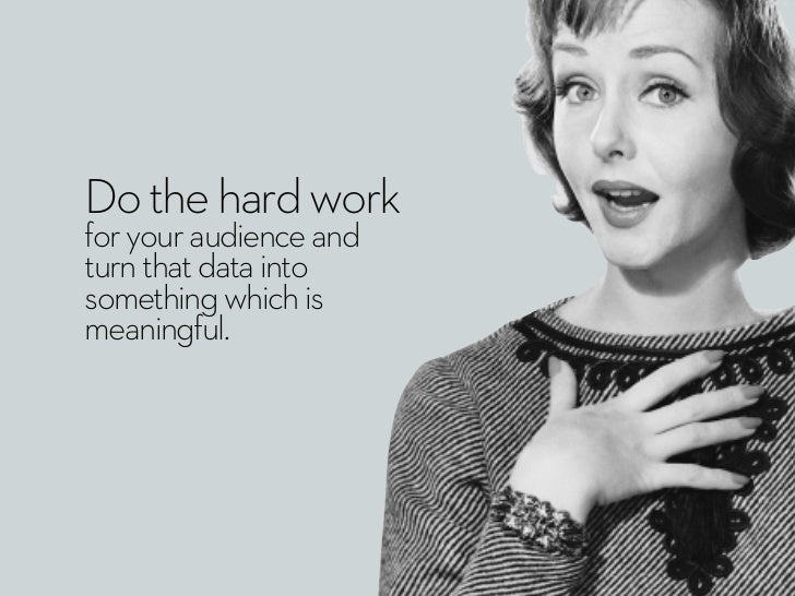 Do the hard workfor your audience andturn that data intosomething which ismeaningful.