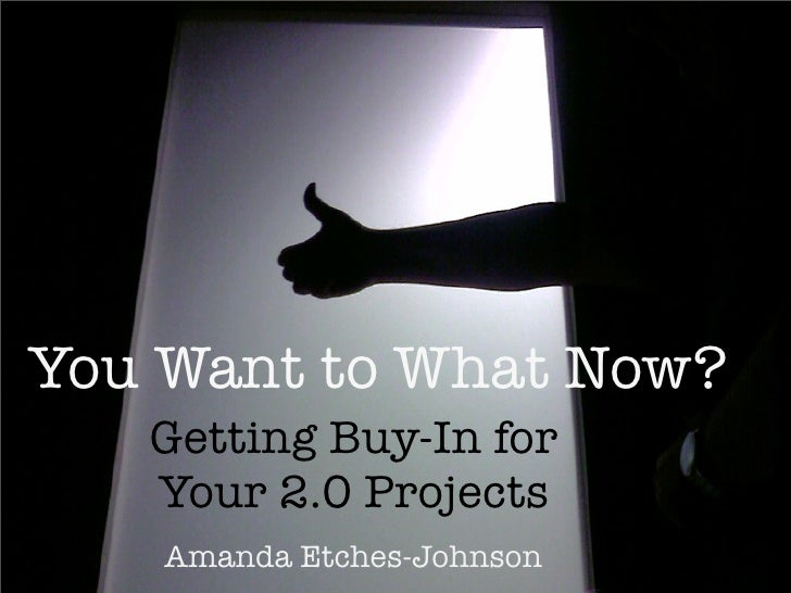 You Want to What Now?    Getting Buy-In for    Your 2.0 Projects     Amanda Etches-Johnson
