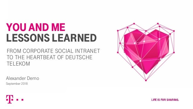 YOU AND ME LESSONS LEARNED Alexander Derno September 2018 FROM CORPORATE SOCIAL INTRANET TO THE HEARTBEAT OF DEUTSCHE TELE...
