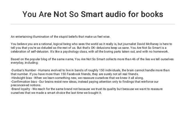 You Are Not So Smart audio for books
