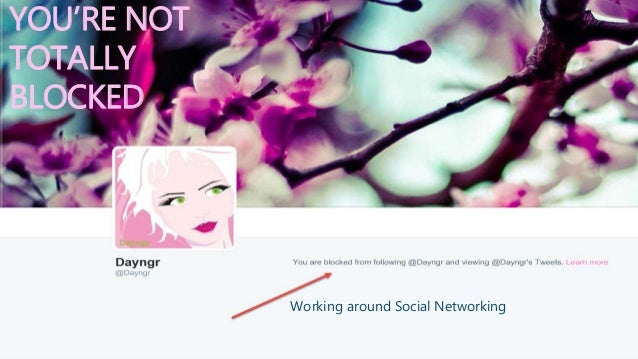 YOU'RE NOT TOTALLY BLOCKED Working around Social Networking