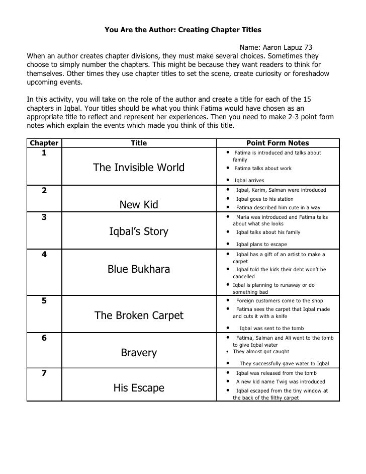 You Are the Author: Creating Chapter Titles                                                                    Name: Aaron...