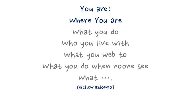 You are: Where You are What you do Who you live with What you web to What you do when noone see What …. (@chemaalonso)