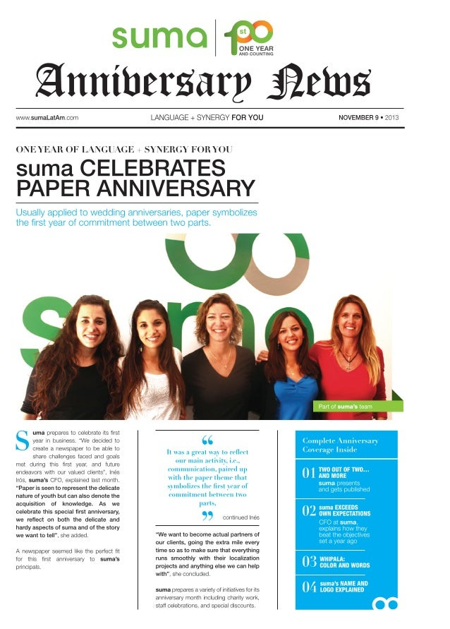 suma Anniversary News - A summary of our first year of business
