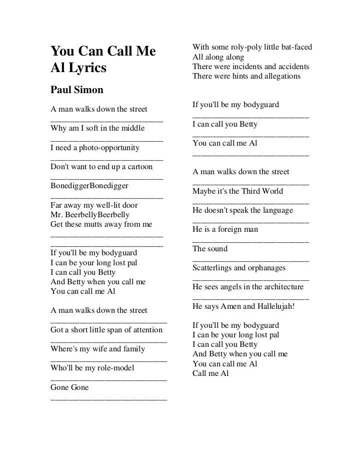 Lyrics containing the term: call me