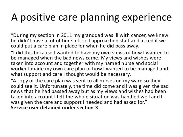 care planning for a person with mental disabilities essay Health care reform comes at an opportune time, as the debate demonstrates   this essay examines the development of mental health services research  in its  1991 report, caring for people with severe mental disorders: a national plan of .