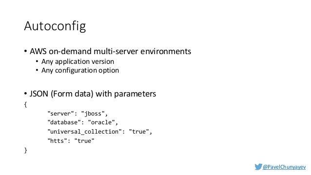 @PavelChunyayev Autodocker APIs • POST /api/docker - create new docker environment • GET /api/docker/<env-name> - get info...