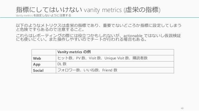Vanity metrics を設定しないように注意する 以下のようなメトリクスは虚栄の指標であり、重要でないどころか指標に設定してしまう と危険ですらあるので注意すること。 これらはレポーティングの際には役立つかもしれないが、actionab...