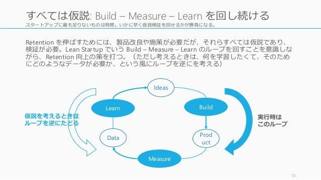 スタートアップに最も足りないものは時間。いかに早く仮説検証を回せるかが勝負になる。 Retention を伸ばすためには、製品改良や施策が必要だが、それらすべては仮説であり、 検証が必要。Lean Startup でいう Build – Mea...