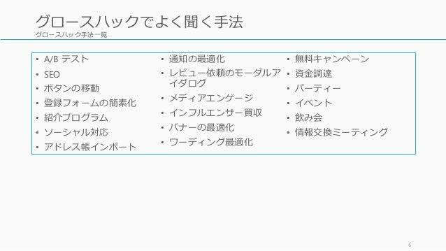 グロースハック手法一覧 • A/B テスト • SEO • ボタンの移動 • 登録フォームの簡素化 • 紹介プログラム • ソーシャル対応 • アドレス帳インポート • 通知の最適化 • レビュー依頼のモーダルア イダログ • メディアエンゲー...