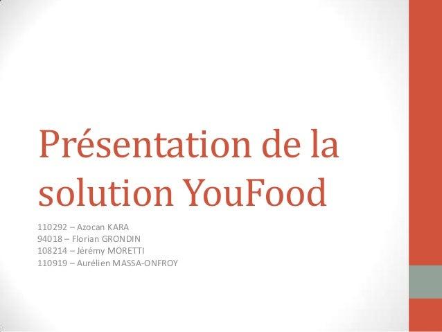 Présentation de la solution YouFood 110292 – Azocan KARA 94018 – Florian GRONDIN 108214 – Jérémy MORETTI 110919 – Aurélien...