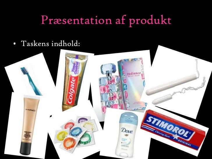 Præsentation af produkt<br />Taskens indhold:<br />
