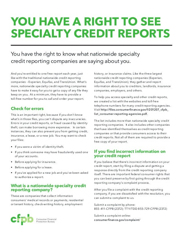 Credit Report Companies >> You Have A Right To See Specialty Credit Reports