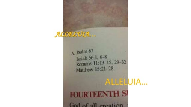 ALLELUIA… ALLELUIA…
