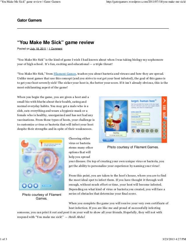 """You Make Me Sick"" game review   Gator Gamers                                      http://gatorgamers.wordpress.com/2011/0..."