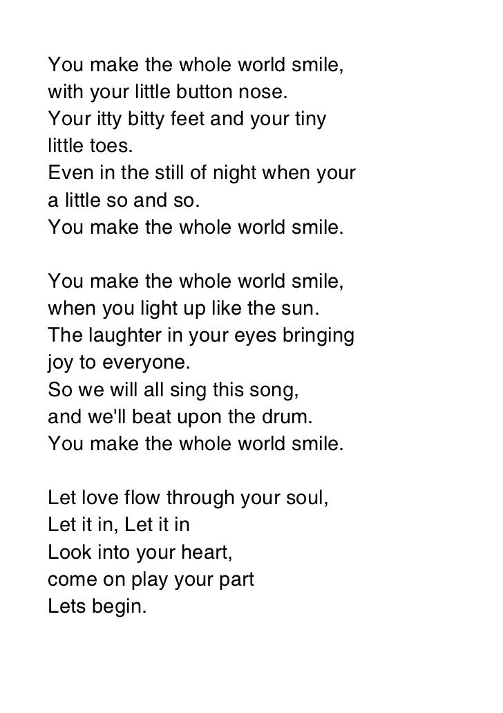 You make the whole world smile lyrics