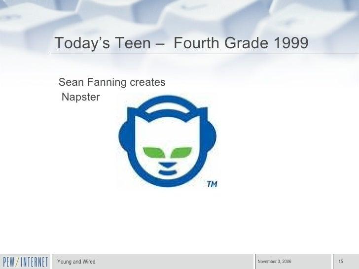 Today's Teen –  Fourth Grade 1999 <ul><li>Sean Fanning creates </li></ul><ul><li>Napster </li></ul>