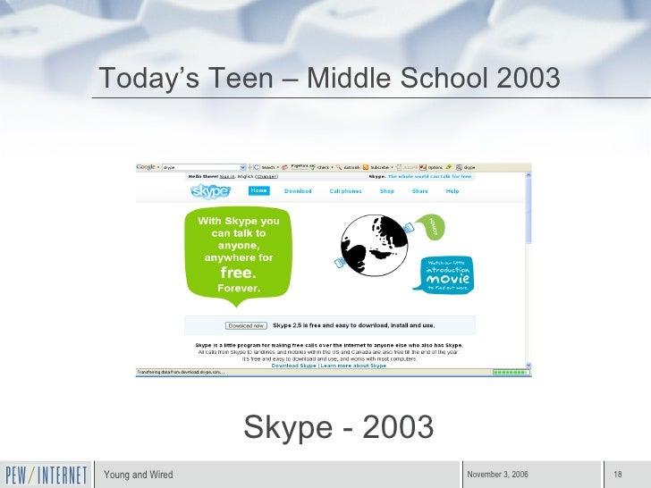 Today's Teen – Middle School 2003 Skype - 2003