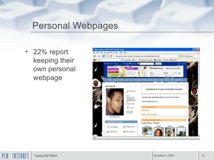<ul><li>22% report keeping their own personal webpage </li></ul>Personal Webpages