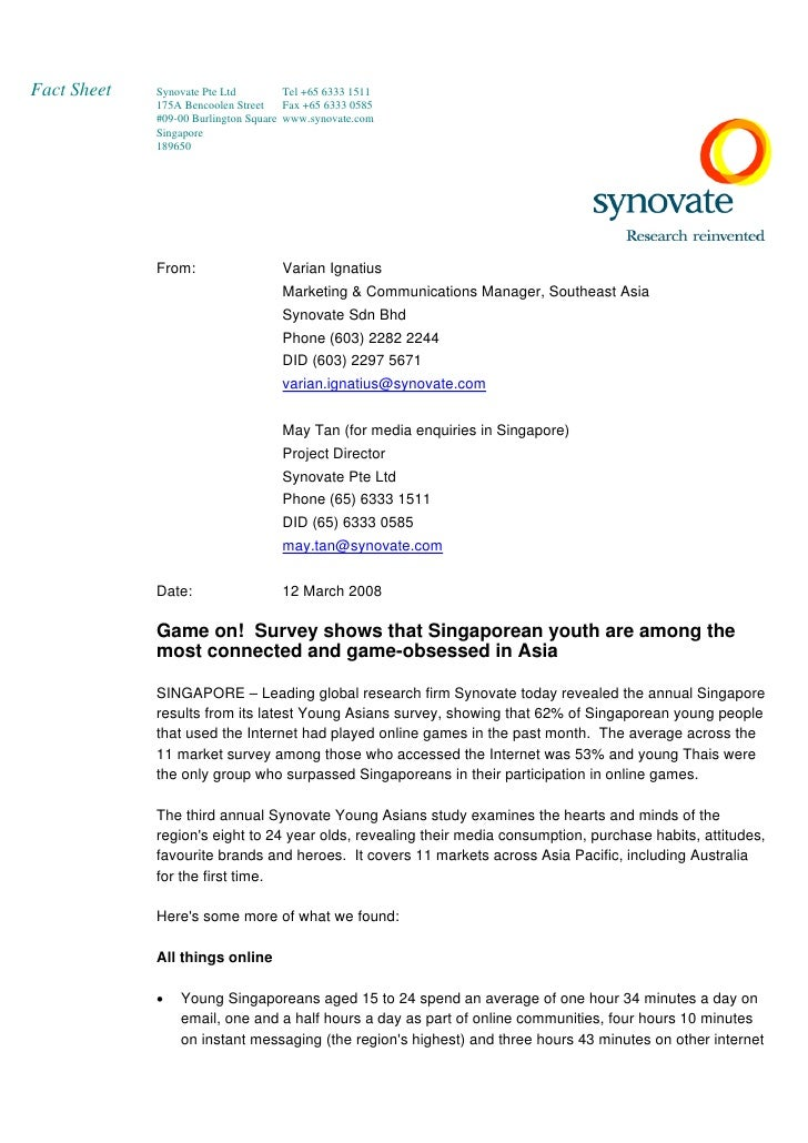 Fact Sheet   Synovate Pte Ltd         Tel +65 6333 1511              175A Bencoolen Street    Fax +65 6333 0585           ...