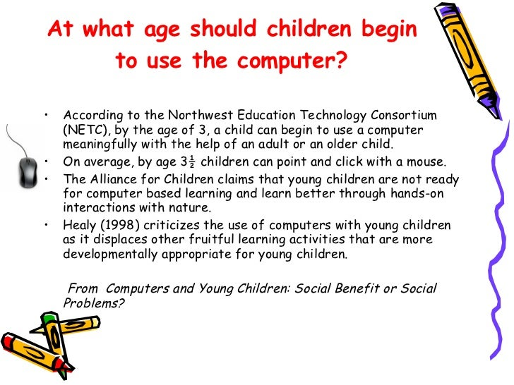 computers for young children gold or Tech4prek is to support teachers of young children in using computers to enhance the development and learning of their students specifically, the project helps teachers.