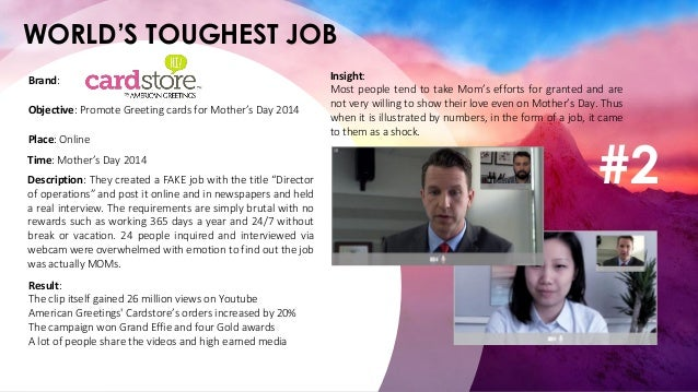 WORLD'S TOUGHEST JOB Place: Online Objective: Promote Greeting cards for Mother's Day 2014 Brand: Time: Mother's Day 2014 ...