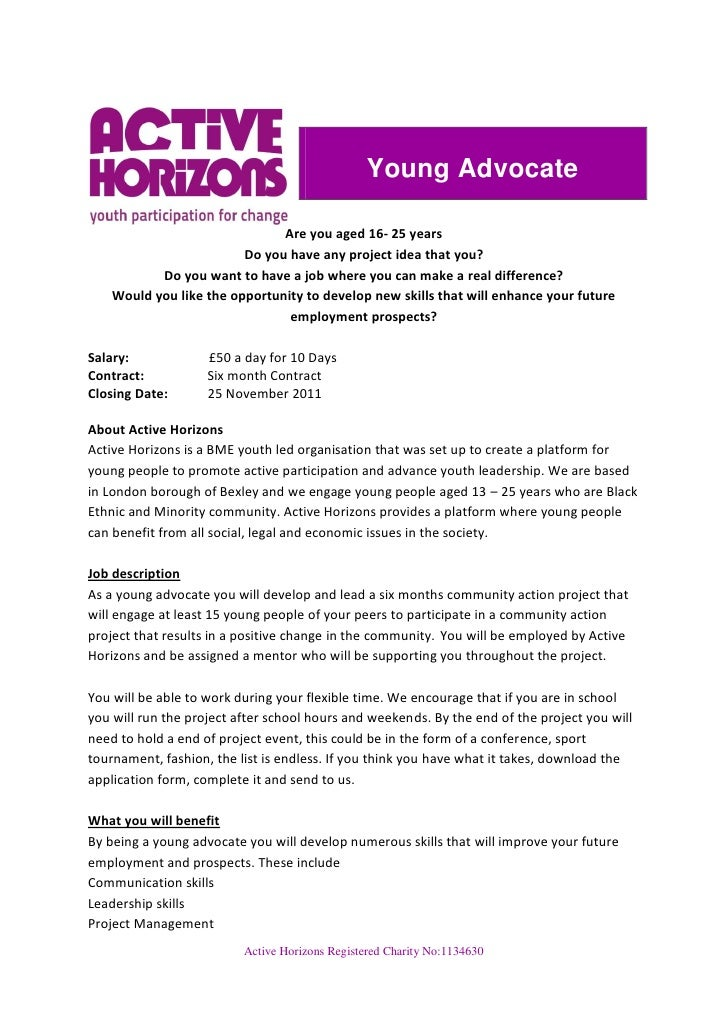 Young Advocate                               Are you aged 16- 25 years                         Do you have any project ide...