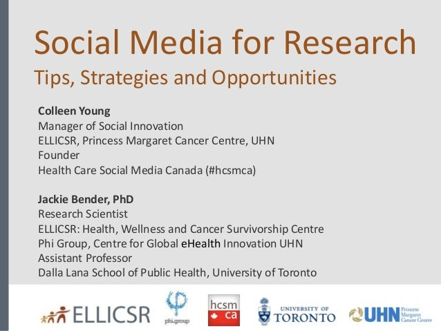 Social Media for Research Tips, Strategies and Opportunities Colleen Young Manager of Social Innovation ELLICSR, Princess ...
