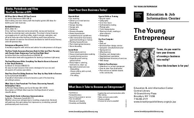 The Young EntrepreneurBooks, Periodicals and Films                                                  Start Your Own Busines...