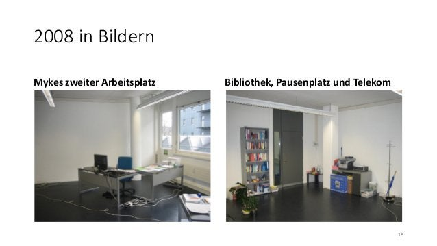 2008 in Bildern Mykes zweiter Arbeitsplatz Bibliothek, Pausenplatz und Telekom 18