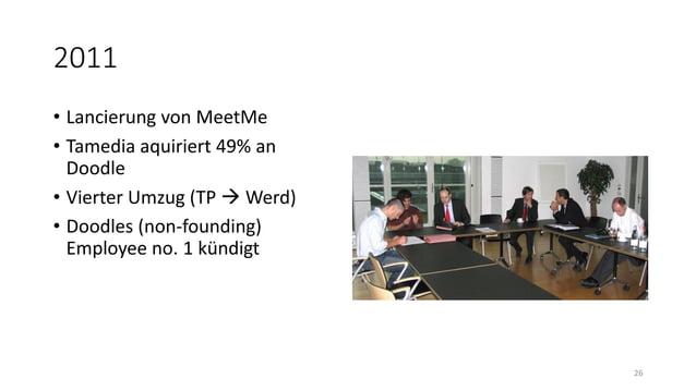 2011 • Lancierung von MeetMe • Tamedia aquiriert 49% an Doodle • Vierter Umzug (TP  Werd) • Doodles (non-founding) Employ...