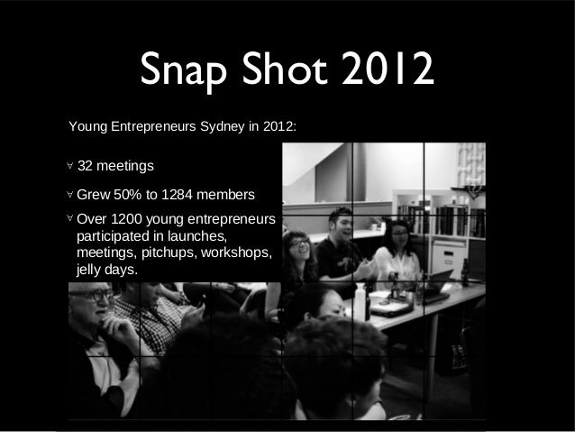 Snap Shot 2012Young Entrepreneurs Sydney in 2012:∀ 32 meetings∀ Grew 50% to 1284 members∀ Over 1200 young entrepreneurspar...