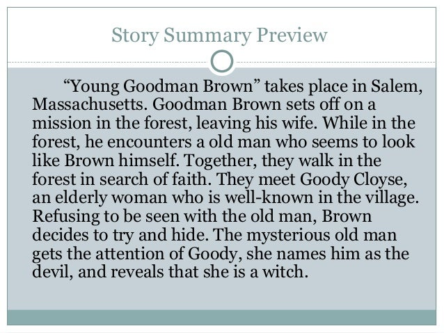 Plot summary of young goodman brown