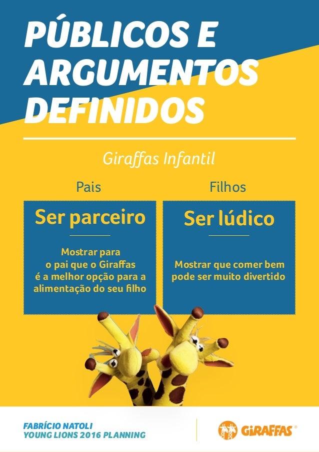 FABRÍCIO NATOLI YOUNG LIONS 2016 PLANNING PÚBLICOS E ARGUMENTOS DEFINIDOS Giraffas Infantil Pais Filhos Ser parceiro Ser lú...