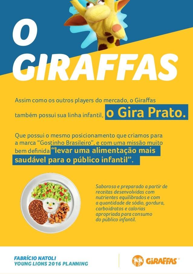 FABRÍCIO NATOLI YOUNG LIONS 2016 PLANNING O GIRAFFAS Assim como os outros players do mercado, o Giraffas também possui sua ...