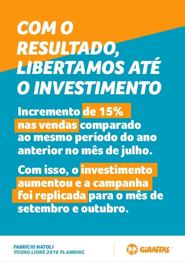 FABRÍCIO NATOLI YOUNG LIONS 2016 PLANNING COM O RESULTADO, LIBERTAMOS ATÉ O INVESTIMENTO Incremento de 15% nas vendas comp...