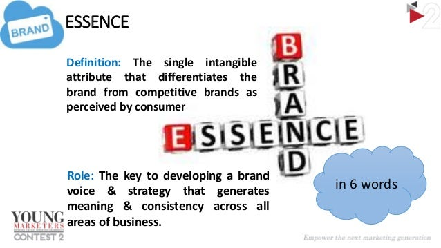 Good ... 5. BRAND ESSENCE Definition: The Single Intangible Attribute ...