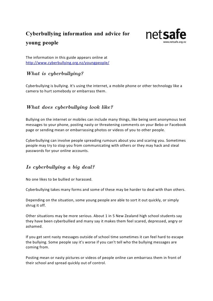 Cyberbullying information and advice for young people  The information in this guide appears online at http://www.cyberbul...