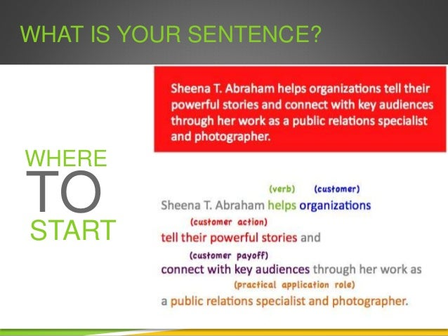 WHAT IS YOUR SENTENCE? WHAT WHERE TO START